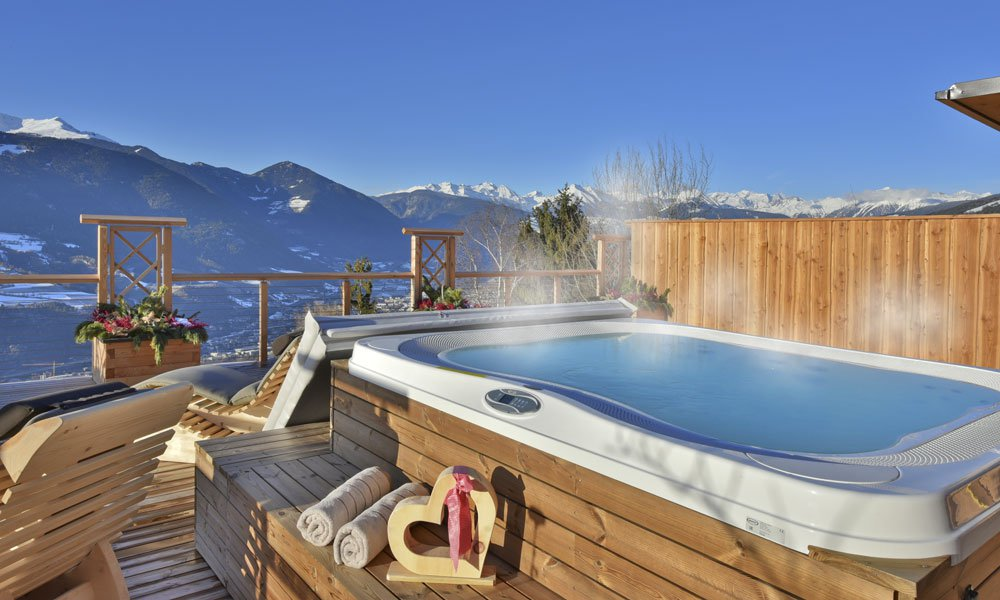 Our hot tub on the large terrace